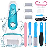 Electric Feet Callus Remover Kit, RechargeableElectronic Dead Foot File Pedicure Tools for Cracked Heel Calluses and Dead Skin, Waterproof Foot Scrubber with 3 Roller Heads, Ideal Gift (Blue)