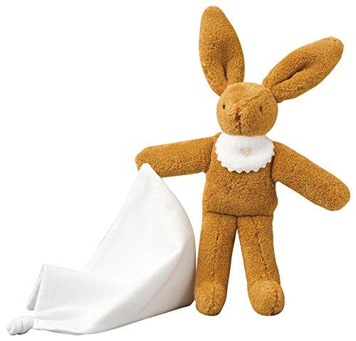 TROUSSELIER - Doudou - Lapin avec son doudou - 20 cm de haut - Classique Chic - Idéal Cadeau de Naissance - Lavable en Machine - Colori Marron