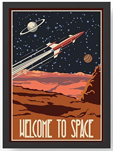 Welcome to space Rakete Kunstdruck Poster -ungerahmt- Bild DIN A4 A3 K0101 Größe A4
