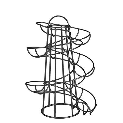 Flexzion Egg Skelter Deluxe Modern Spiraling Dispenser Rack (Medium) - Chrome Plated Freestanding Wire Chicken Egg Storage Organizer Display Holder Basket for Countertop Kitchen, Black