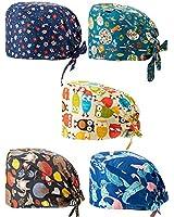 5 Pieces Printed Soft Caps Bouffant Scrub Turban Cap Cotton Adjustable Scrub Hat with Sweatband for Women Men