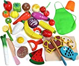 Lewo 33 Pcs Play Food Toys Cutting Fruit Vegetables Set Magnetic Wooden Cooking Food Prete...
