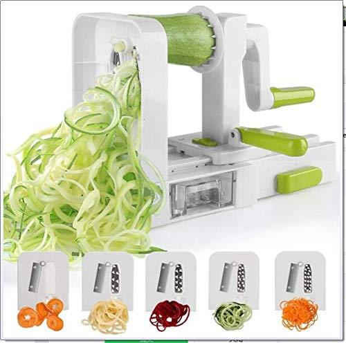 5-Blade Spiralizer, más fuerte y más pesado-deber vegetal espiral máquina de cortar, Mejor Veggie Pasta espagueti Maker con extra Caddie Cuchilla