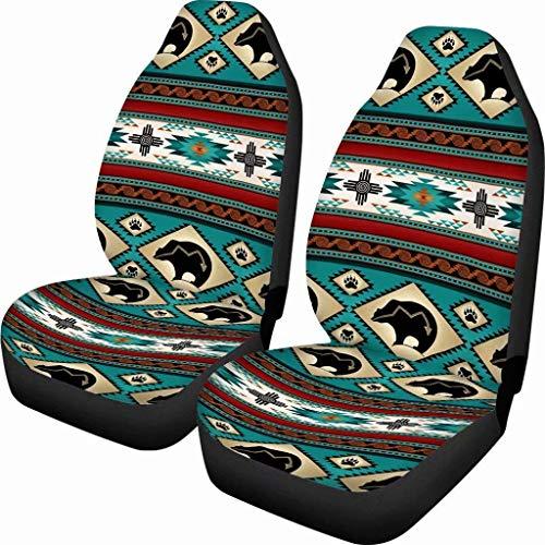 Chaqlin Tribal Aztec Bear Print Vordere Autositzbezüge 2er-Set, Native Vehicle Seat Protector Auto-Mattenbezüge Satteldecke, Passend für die meisten Fahrzeuge, Jeep, Limousine, LKW, SUV, Van
