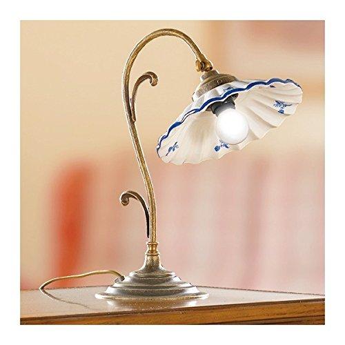 Lampe de Table en laiton chromé et diffuseur en céramique, plissée et décoré avec un look vintage rétro - h.35 cm - Bianco (nessun decoro)