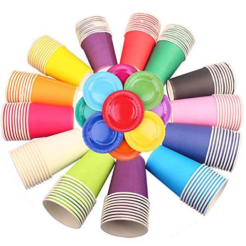 Jicyor 30pcs Vasos de Papel Desechables para Fiestas, Vasos Carton de Colores Biodegradables Vaso de Papel con Plato de Papel...