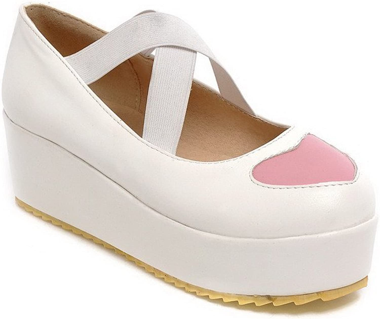 WeenFashion Women's Kitten-Heels Soft Material Elastic Round Closed Toe Pumps-shoes