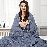 jaymag Therapiedecke 135x200 7kg Gewichtsdecke für Erwachsene Beschwerte Decke Anti Stress Schwere Decke für Angst und Schlafstörungen, 100% Baumwolle, Blau