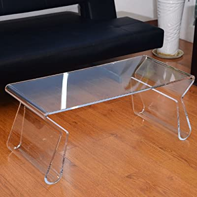 HomCom 38 inches Modern Acrylic Coffee Table with Storage