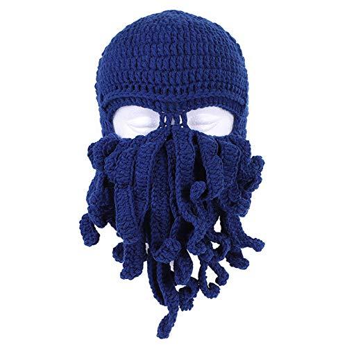 Handmade Knitting Wool Octopus Adult Hat Barbarian Vagabond Beanie Foldaway Beard Caps