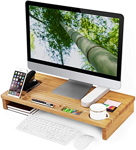 RAINBEAN Monitor Stand Riser met Opslag Organizer Office Computer Screen Desk Laptop Raiser Telefoon TV Printer Stand Desktop Container, Natuurlijke Hout