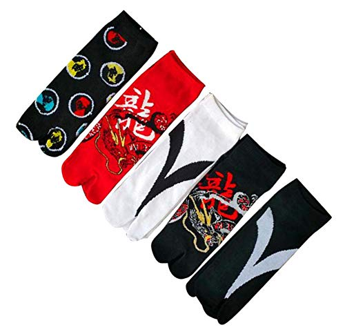 Dragon Troops Herren Zwei-Zehen-Socken (6 Paar), japanischer Stil Cosplay, zufälliges Muster
