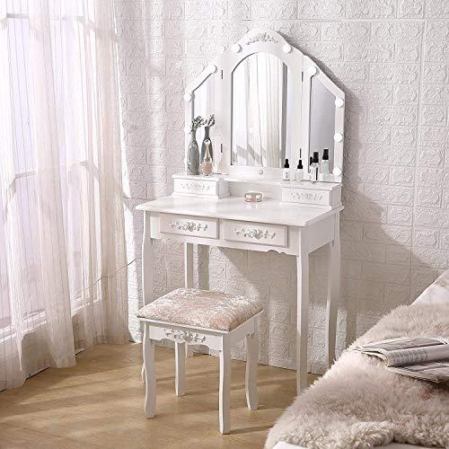 OBLLER Tocador Plegable con Espejo, Tocador, Tocador con Taburete Acolchado Y 4 Cajones De Almacenamiento, Muebles De Madera (White)