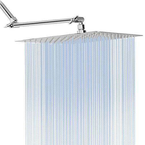 Rain Shower Head with 11'' Adjustable Extension Arm, Large Stainless Steel High Flow Rainfall...