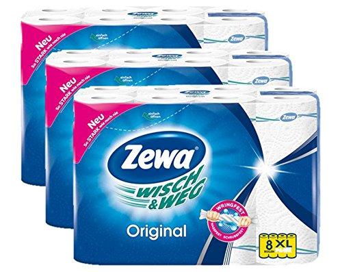 Zewa Wisch und Weg Küchenrollen Original, saugstarke Wischtücher im Vorteilspack, 3 x 8 Rollen (24 x 45 Blatt)