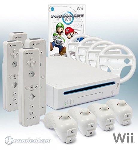 Wii Konsole mit Mario Kart, 4 Remotes und allem nötigen Zubehör