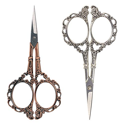 BIHRTC Pack of 2 Vintage European Style Plum Blossom Scissors for Embroidery, Sewing, Craft, Art Work & Everyday Use (Copper,Silver)