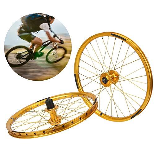 Wosune Juego de Ruedas para Bicicleta, Juego de Ruedas para Bicicleta de montaña, Rueda BMX, portátil Ligero para Bicicleta de montaña, 20 Pulgadas, 406 neumáticos