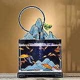 Decoración de estatuas Creativas artesanías de decoración de Interior / Exterior, Acuario de Vidrio pequeño Plantas de paisajismo Acuario Fuente de Paisaje clásico Tanque de Peces