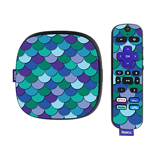 MightySkins Skin Compatible with Roku Ultra HDR 4K Streaming Media Player (2020) - Blue Scales   Protective, Durable, and Unique Vinyl Decal wrap Cover   Easy to Apply and Change Styles   Made in The