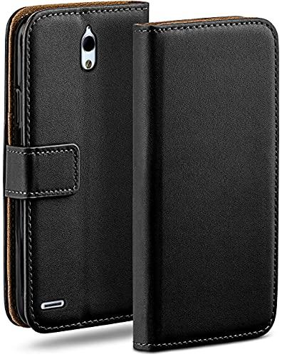 moex Klapphülle kompatibel mit Huawei Ascend G610 Hülle klappbar, Handyhülle mit Kartenfach, 360 Grad Flip Hülle, Vegan Leder Handytasche, Schwarz