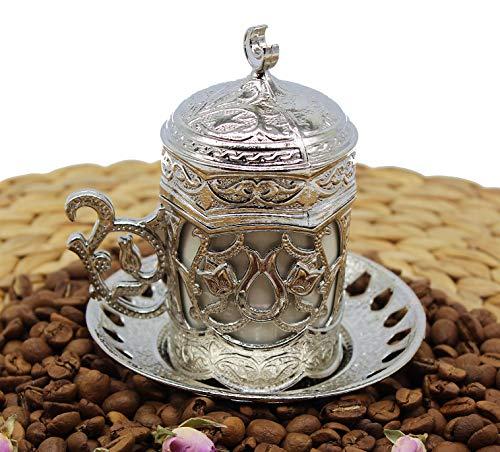 HeraCraft Türkische griechische arabische marokkanische Kaffee- & Espressotasse mit innerem Porzellan, Metallhalter, Untertasse und Deckel, 1 Tasse besteht aus 4 Teilen & handgefertigt (Silber-2)