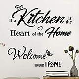2 Pz Adesivi Murali da Parete Frasi Scritte Kitchen Welcome Home Impermeabili PVC Decorazione DIY Wall Stickers per Casa Cucina (The Kitchen+Welcome)