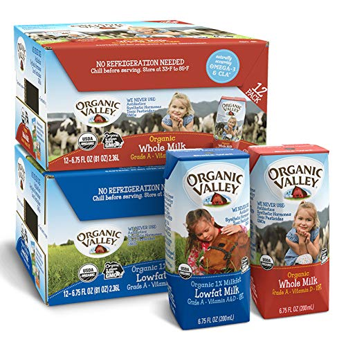 Organic Valley Shelf Stable Milk Bundle: Whole Milk Boxes & 1% Lowfat Milk Boxes, 6.75 fl oz (Two Packs of 12) - Healthy Snacks