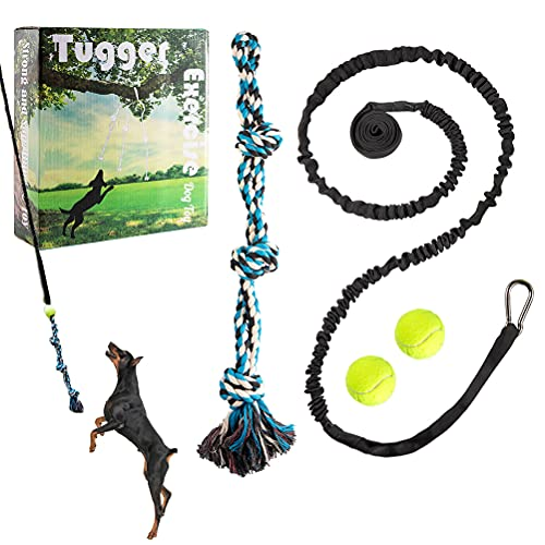 PUPTECK Tugger Dog Rope Toys with 2 Pack Balls - Durable Outdoor Exercise Tug Toys for Medium Doggies, Safe Interactive Toys Hanging Bungee Rope and Tennis Ball War Toys