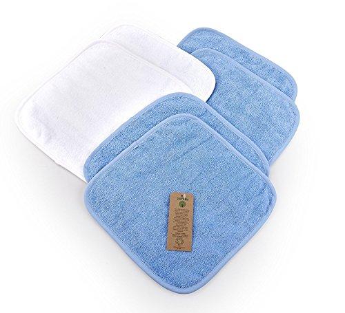 Arus 6 Baby-Waschlappen, aus 100% saugstarkem Bio-Frottee, GOTS-Zertifikat, 2 in Weiß, 4 in Blau, 30X30 cm