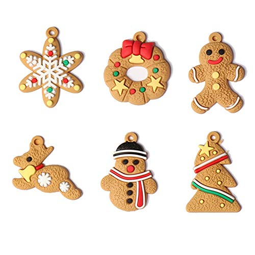 Buhui - Ciondolo natalizio a forma di omino di pan di zenzero, 12 pezzi, per decorazioni per albero di Natale, decorazione