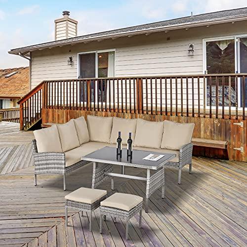Outsunny Conjunto de Muebles de Jardín 6 Piezas de Ratán Juego de Sofás de 2 Plazas Taburete y Mesa de Comedor con Cojines Acolchados Patio Terraza Balcón Gris y Caqui