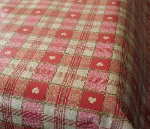 Karina Home Sweetheart Check RED PVC Vinyl Oilcloth Tablecloth 200 x 137cm