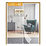 Yotache White Magnetic Screen Door Fits Door Size 72 x 80, Strengthened Balcony Patio French Door Screen Curtain Fit Doors Size Up to 72' W x 80' H Max Keep Fly Bug Out