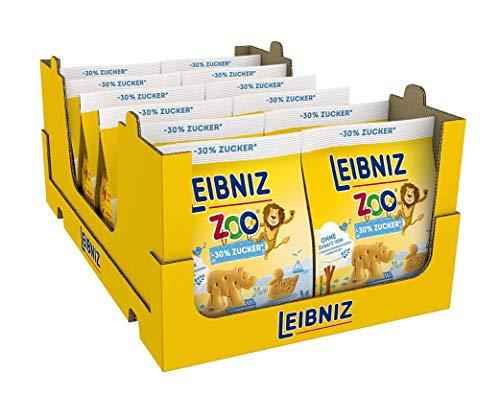 Leibniz Zoo -30% Original Butterkeks mit weniger Zucker – Keks für die ganze Familie - zu Hause & unterwegs – Belohnung für zwischendurch, 12er Pack (12 x 125 g)