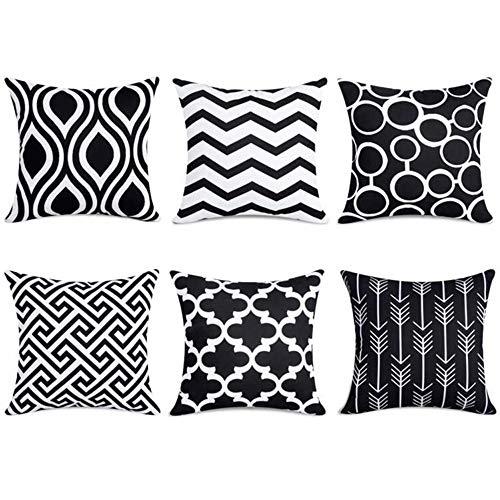 Fentace Kissenbezug 6er Set, Dekorativ Geometrische Muster Sofa Büro Dekor Kissenhülle aus Baumwolle und Samt 45x45cm (schwarz)