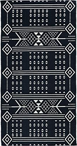LIV INTERIOR Teppich, Embroidery, Bedruckte Baumwolle, schwarz/Natur, 70x140cm, One Size