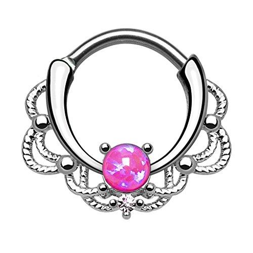 Piercingfaktor Piercing Universal Clicker Schild Ring Septum Nasenpiercing Lippenpiercing Tragus Helix Ohr mit Opal Silber Pink