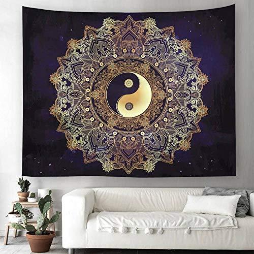 Jiahui Sincere Store Tapiz de Mandala Yin Yang, decoración del hogar, Tapiz Negro para Colgar en la Pared, Tapiz de Tela, tapices, Manta, Toalla de Playa - 150X200CM