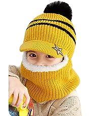 YONKINY Sombrero de Invierno Caliente Lindo Gorro de Punto con Forro Polar Primavera Otoño Sombrero y Bufanda para Niños Niñas