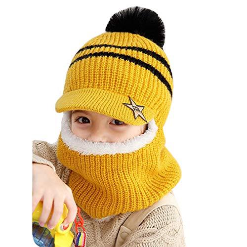 YONKINY Sombrero de Invierno Caliente Lindo Gorro de Punto con Forro Polar Primavera Otoño Sombrero y Bufanda para Niños Niñas (amarillo)