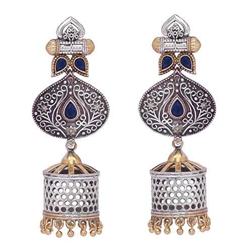 Aheli Antique Boho Oxidized Drop Dangle Jhumki Jhumka Earrings Intricate Crafted Indian Ethnic Wedding Fashion Tribal Jewelry for Women
