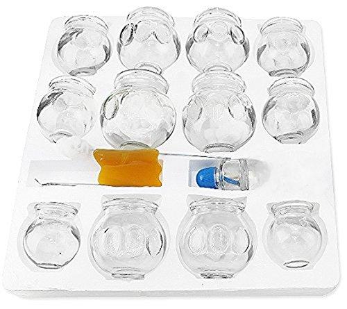 拔罐 Medical Grade Glass Cupping Therapy Set Professional Vacuum Cupping Therapy Equipment (12 pcs Thick Glass Cupping Set with BOUNS Kits Pro)