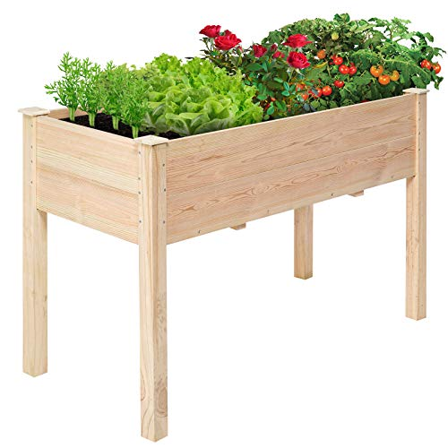 KingSo 4FT Raised Garden Bed Wooden Elevated Planter Box Outdoor Solid Wood Planter Garden Box Kit...
