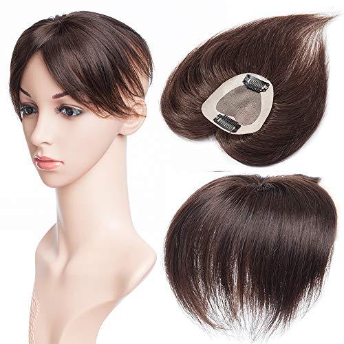 TESS Clip in Echthaar Extensions Haarteil Toupet Frauen Haarverlängerung Topper Hair Damen Silk Base Remy Echthaar #2 Dunkelbraun 6