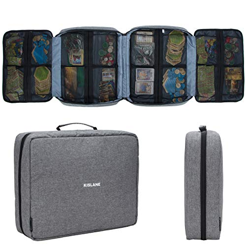 KISLANE Board Game Carrying Case with 18 Pockets for Board Games, Pieces, Tokens, Cards and More, Expandable Board Game Storage Solution for Travel, Party, Gathering (Grey)