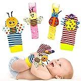 Wrist Rattles Foot Finder Rattle Sock Baby Toddlor Toy,Rattle Toy,Arm Hand Bracelet Rattle,Feet Leg Ankle Socks,Activity Rattle Present Gift for Newborn Infant Babies Boy Girl Bebe (4 bugs)
