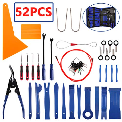 AUTDER Trim Removal Tool Set 52Pcs, Car Trim Puller Tool Kit, Plastic Pry Tools Set for Trim/Panel/Door/Audio, Auto Clip Pliers/Fastener Remover Set, Car Stereo/Terminal Removal Tool Kit - Blue
