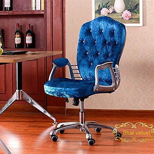 PLAYH Silla De Oficina Ergonómica con Reposabrazos, Ajustable En Altura, Silla De Terciopelo para El Trabajo En Casa, para Oficina, Dormitorio, Estudio, Bar (Color : Blue)