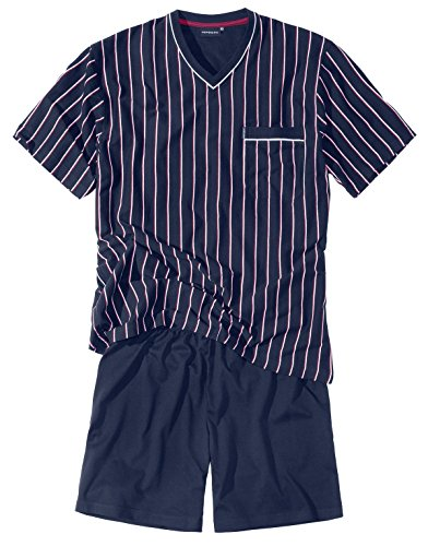 Götzburg Herren Shorty, Kurzarm, Baumwolle, Single Jersey, Navy, gestreift 64